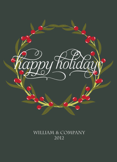 corporate holiday cards - holly jolly wreath by Olive Paper
