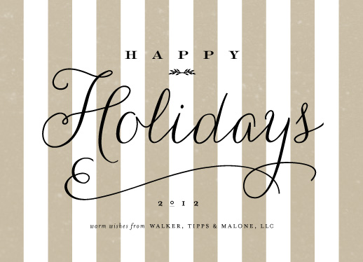 business holiday cards - happy holidays stripe by Sara Hicks Malone