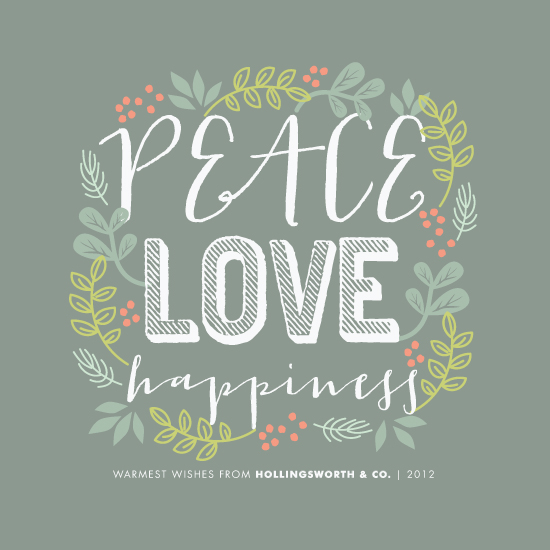 corporate holiday cards - Peace Love Happiness by Melanie Severin