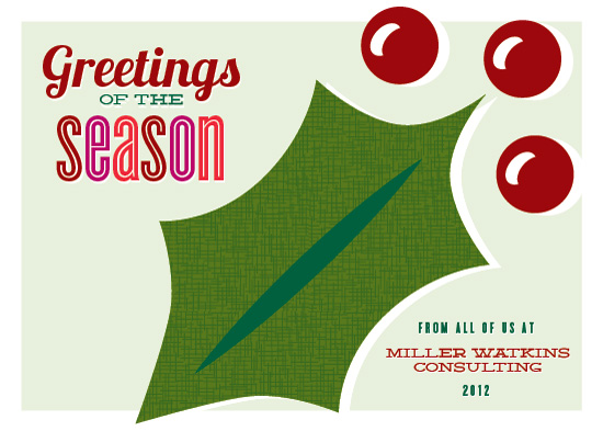 corporate holiday cards - Holly Greetings by Laura Bolter Design