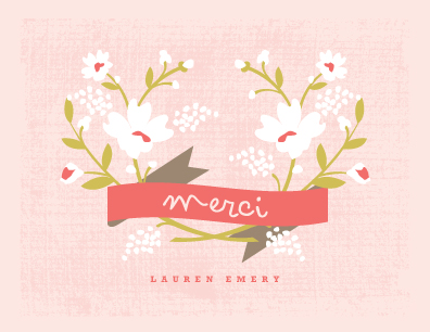 thank you cards - Merci Banner by Kristie Kern