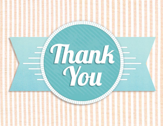 thank you cards - Retro Blue Ribbon by Katherine