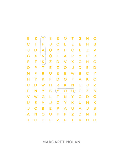 thank you cards - Word Search Puzzle by Marcela Cebrowski