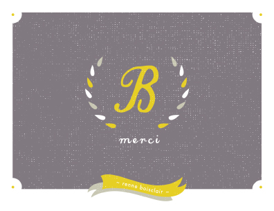 thank you cards - Laurel wreath monogram by Stacey Meacham