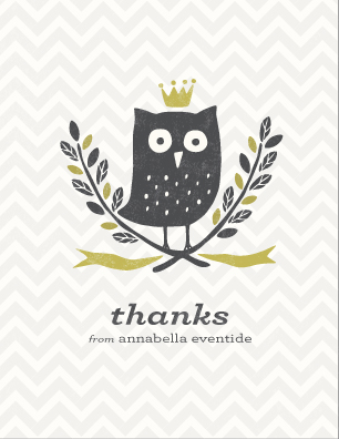 thank you cards - Thank-Whooo by Griffinbell Paper Co.