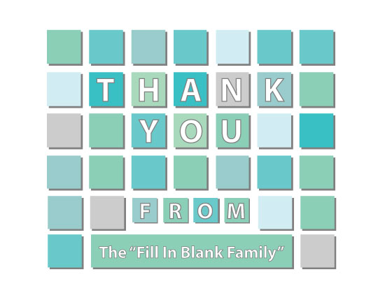 thank you cards - Blue Squares by Iget2design2day