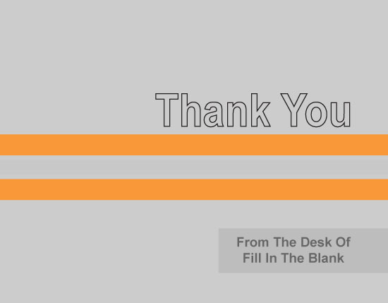 thank you cards - Orange-and-Grey-Stripe by Iget2design2day