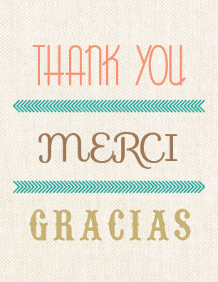thank you cards - Thank you, Merci, Gracias! by By Birch