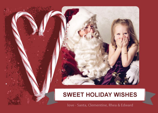 holiday photo cards - Candy Cane Wishes by The Polkadot Balloon