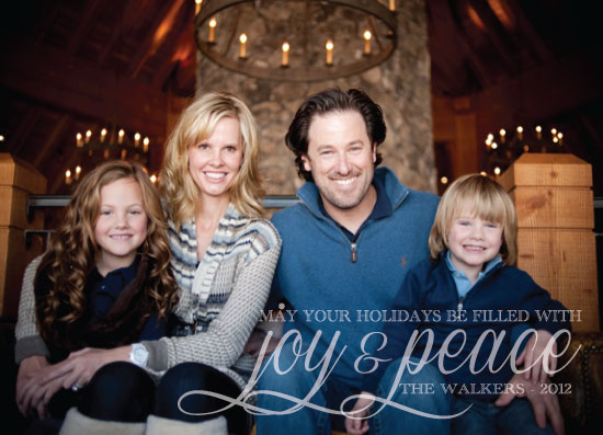 holiday photo cards - JOY AND PEACE AND FAMILY by Olive Paper
