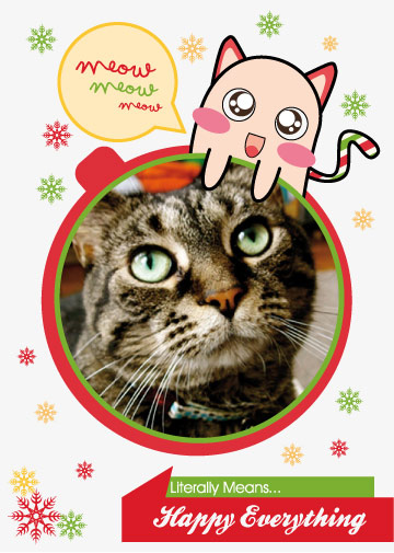 holiday photo cards - Kawaii Meow Card by Garaguchy