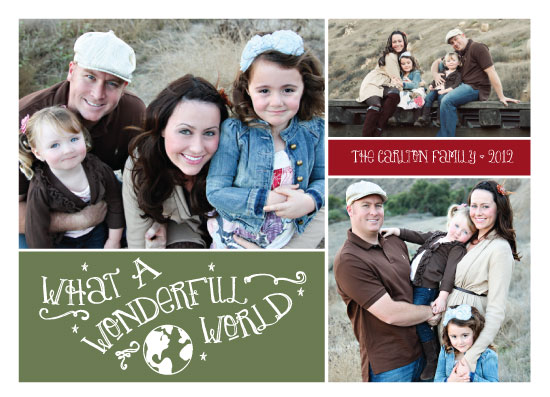 holiday photo cards - Wonderful World by Tickled Peach Studio