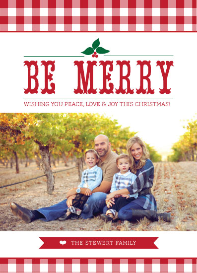 holiday photo cards - Be Merry Gingham by Winnie Jean