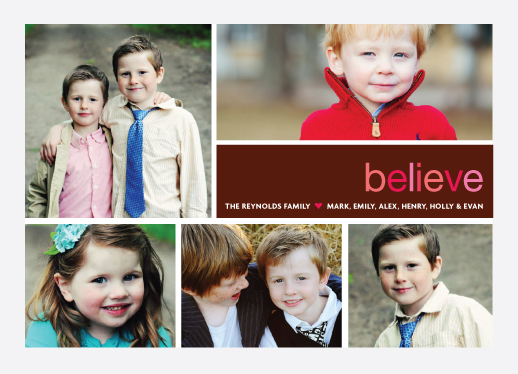 holiday photo cards - believe by wendy fessler