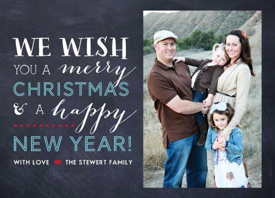 holiday photo cards - We Wish You Chalkboard by Winnie Jean