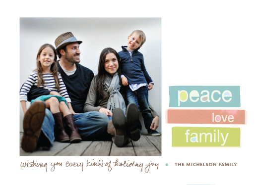 holiday photo cards - peace love family by wendy fessler