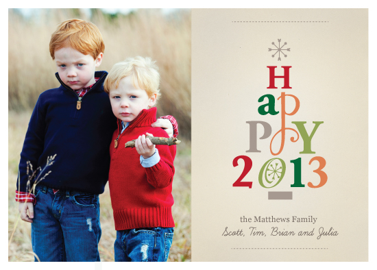 holiday photo cards - Typographic Design Happy 2013 card by Petra Koren