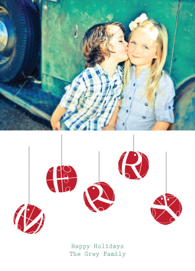 holiday photo cards - Merry Typographic Ornaments by Gaucho Works