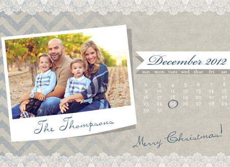 holiday photo cards - Burlap Calendar Card by The Picture Portal