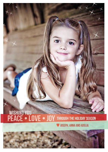 holiday photo cards - Peace + Love + Joy by Claire P Chandler