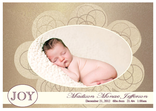 holiday photo cards - Fancy Birth Joy by that girl Shelley