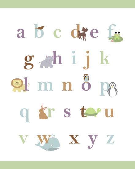 art prints - Baby Animal Alphabet by BitsyCreations