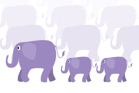 art prints - Elephan parade by muffina