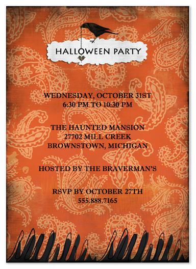 party invitations - Orange Paisley by Stephanie Blaskiewicz