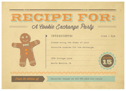 party invitations - Retro Recipe by Smudge Design