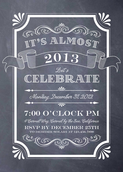 party invitations - Chalkboard New Year by Erin Deegan