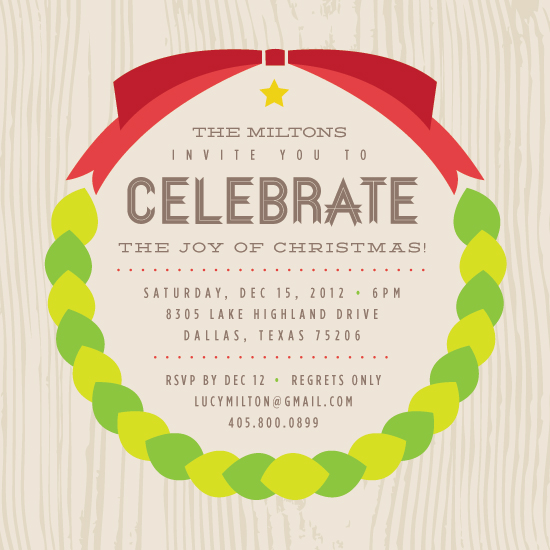 party invitations - Christmas Wreath by Ivana Brata