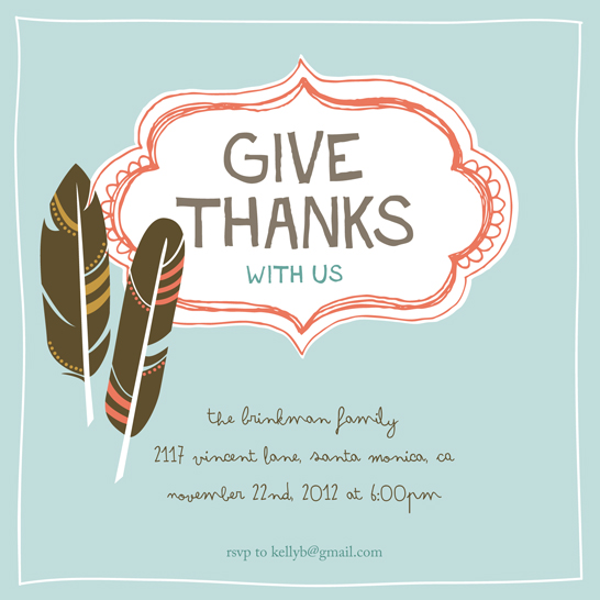 party invitations - Give Thanks With Us by Anne Was Here