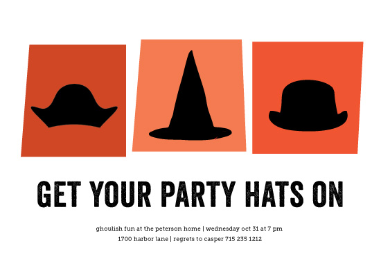 party invitations - Three Hats by Susan Brown