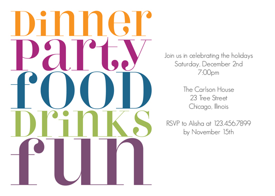 party invitations Dinner Party Typography at Mintedcom