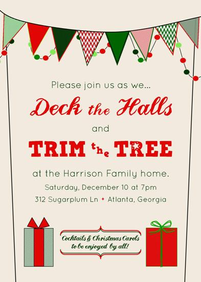 party invitations - Deck the Halls & Trim the Tree by Fish Feather