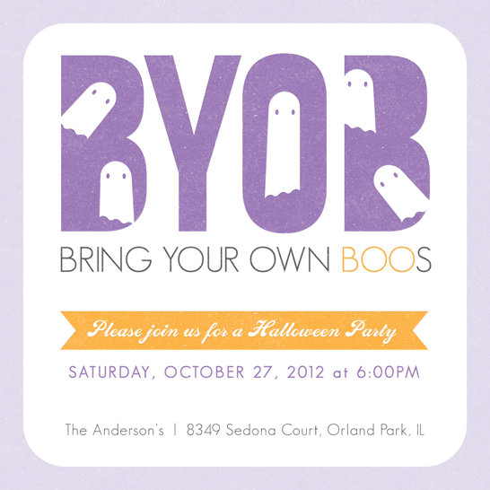party invitations - Bring Your Own Boos Halloween by Anne Was Here