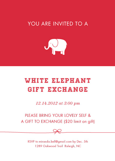 party invitations  classic white elephant exchange at minted, party invitations