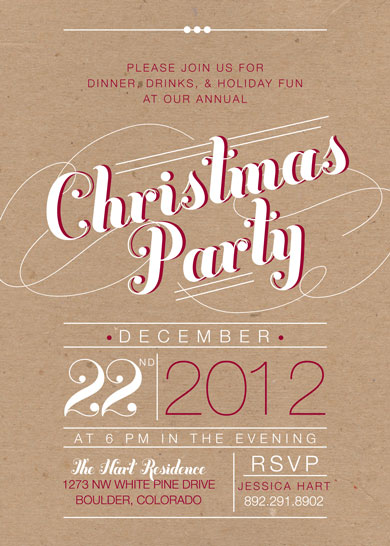 party invitations - rustic christmas by Kimberly Nicole