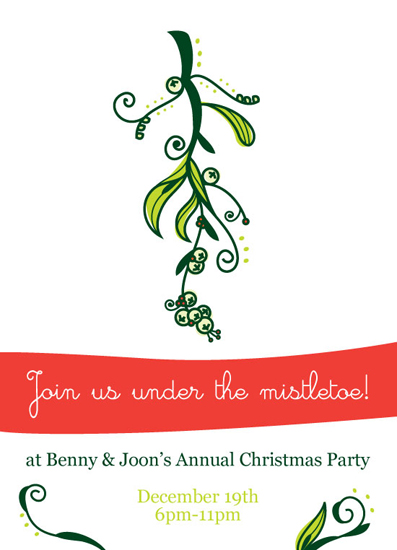 party invitations - Join Us Under the Mistletoe by Taylor Luke