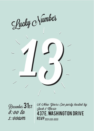 party invitations - Lucky Number 13 by Samantha Kachel