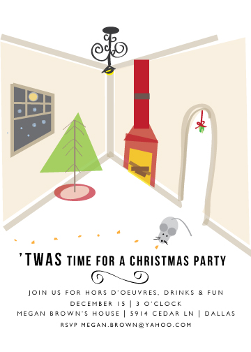 party invitations - 'twas time for a Christmas party by a la amore