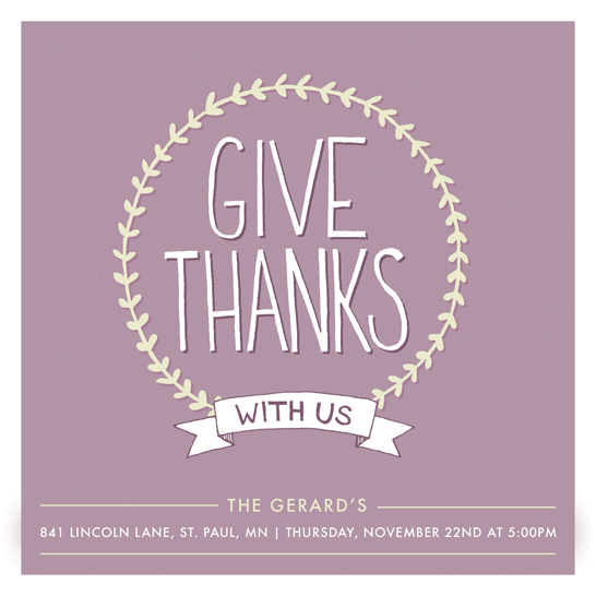 party invitations - Give Thanks Vine by Anne Was Here