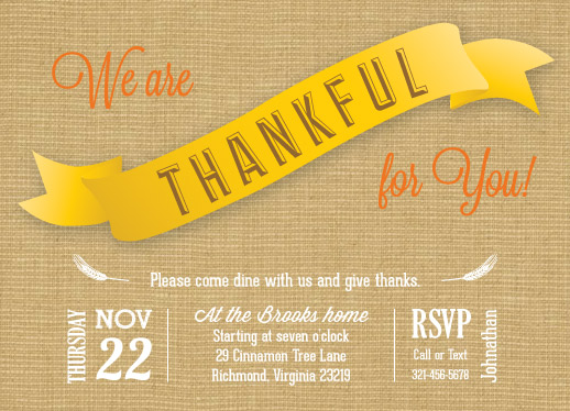 party invitations - Thankful by Barbara Lundberg