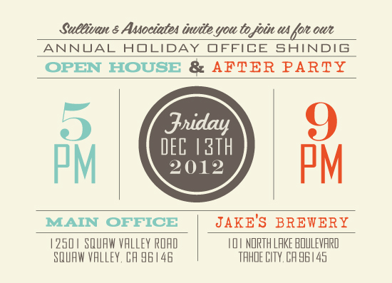 party invitations - Dual Holiday Shindig by Five Sparrows