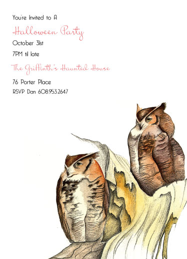 party invitations - Owls Invite by Gaucho Works