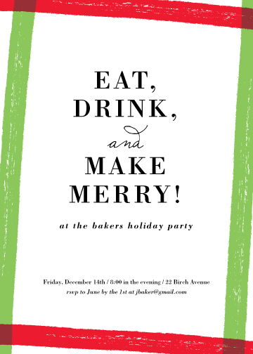 party invitations - Eat, Drink, Merry by Kelly Nasuta