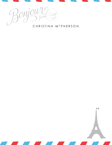 personal stationery - petite bonjour from paris by angelrabbit