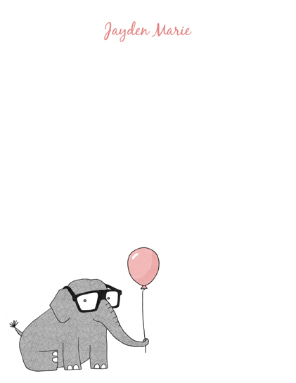 personal stationery - Elephant with Balloon by Anne Was Here
