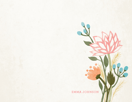 personal stationery - Watercolor Lotus by Four Wet Feet Studio