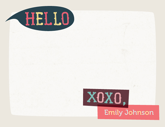 personal stationery - Hello XOXO by Four Wet Feet Studio